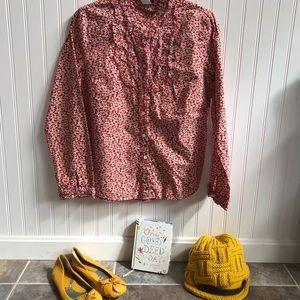 J. Crew floral dress shirt size medium